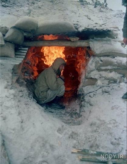 عکس آتش در یخبندان