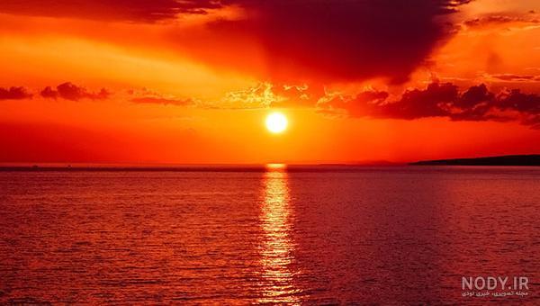 عکس طلوع و غروب خورشید در کنار دریا