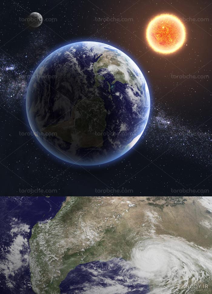 عکس خورشید و ماه و زمین