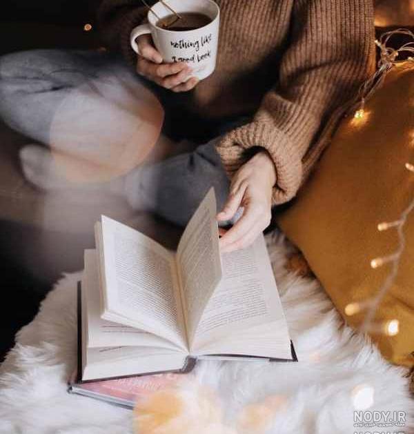عکس هنری قهوه و کتاب