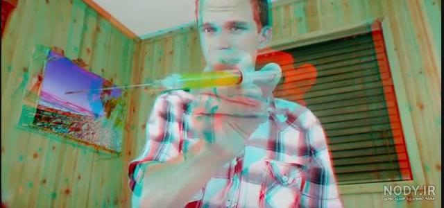 عکس سه بعدی آبی قرمز