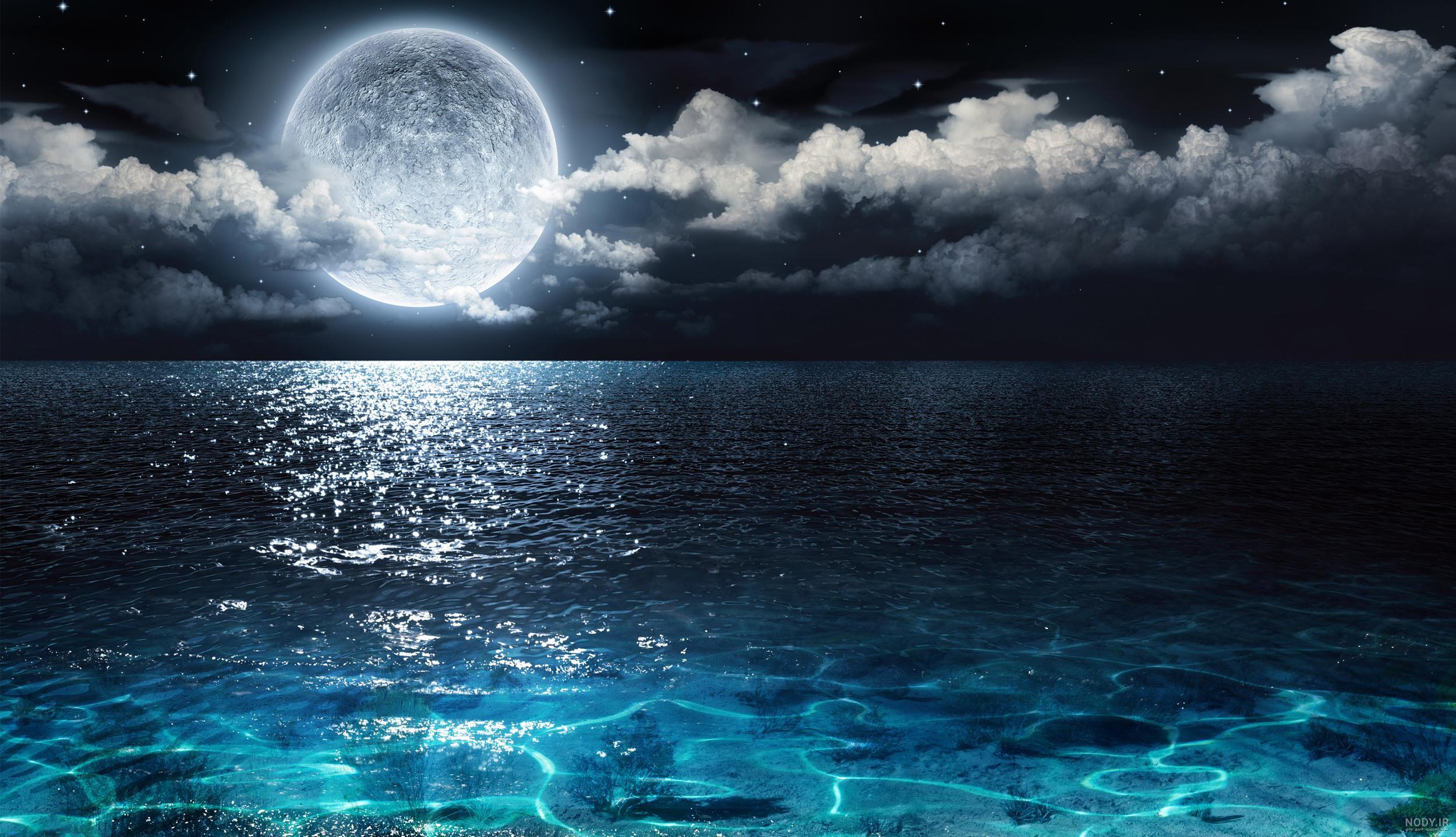 عکس دریا شب
