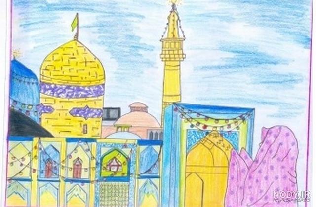 عکس حرم امام رضا به صورت نقاشی