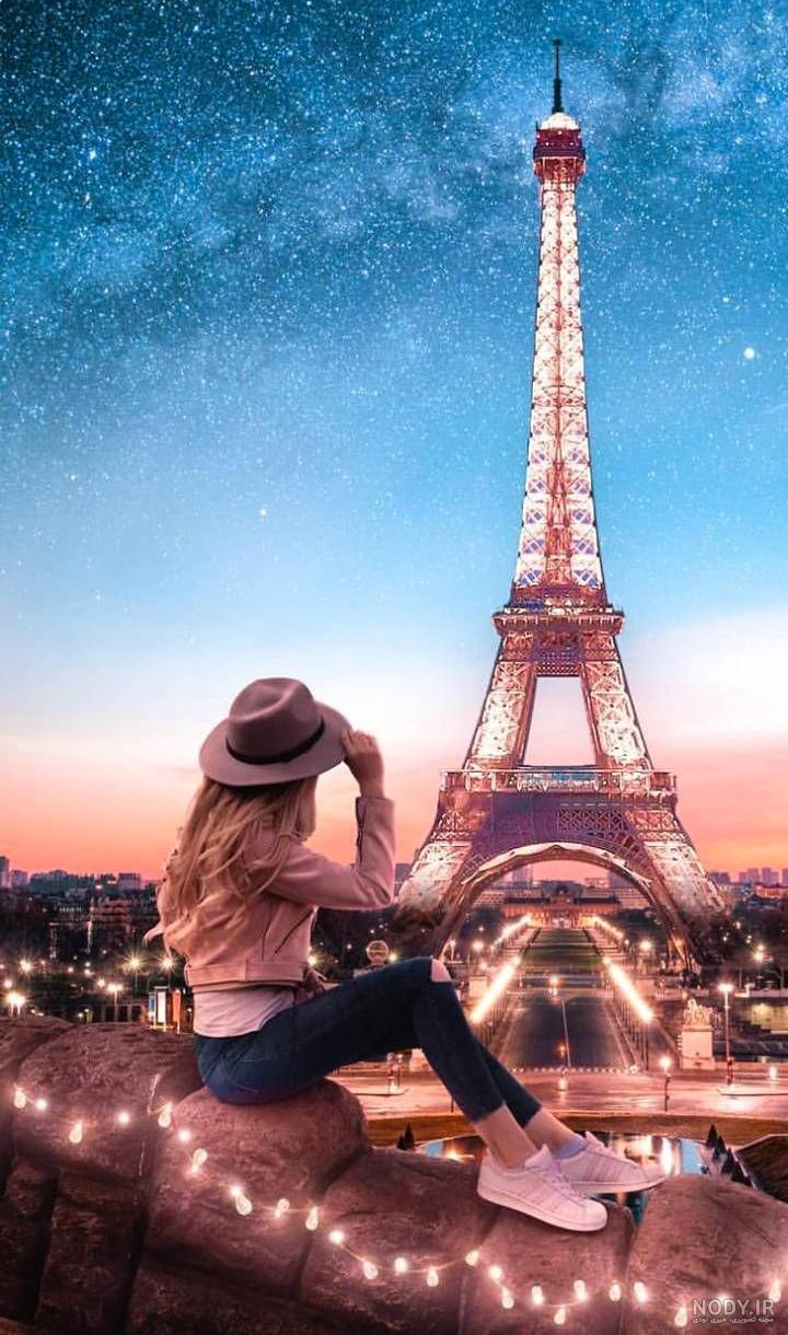 عکس دختر تنها کنار برج ایفل