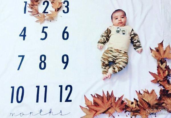 ایده عکس پاییزی از نوزاد