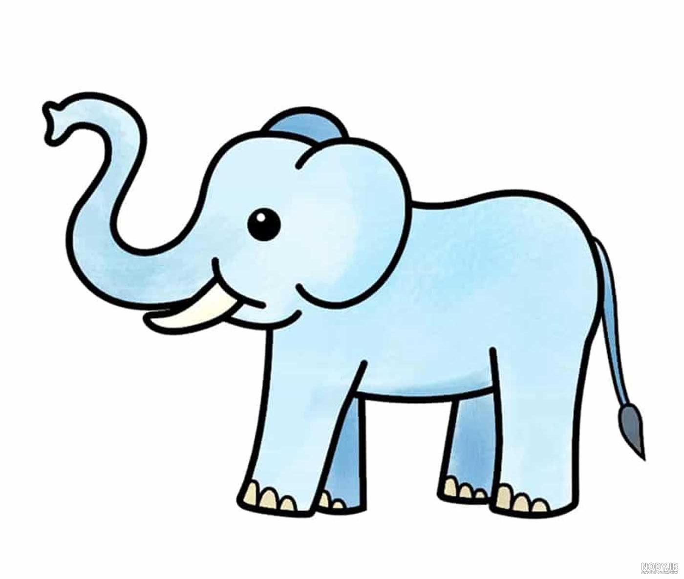 عکس نقاشی فیل کودکانه